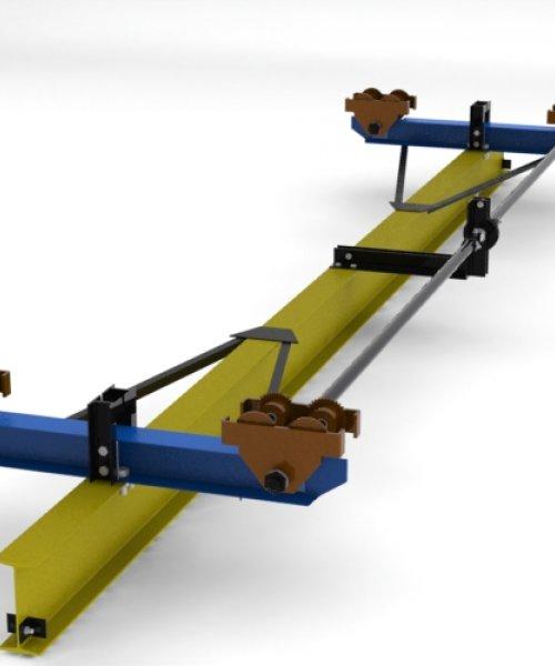 Кран ручной подвесной 1т - Пролет (4,5 м); Длина (5,7 м)